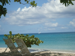 1. CY article Grand Anse beach view from Spice Island Beach resort (sailboat)